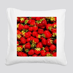Strawberries Square Canvas Pillow