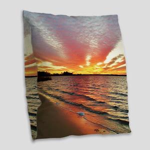 Sunset Streaks Burlap Throw Pillow