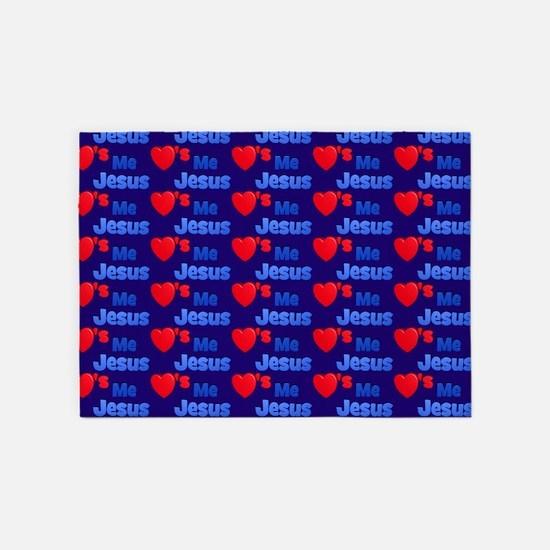 Jesus Loves Me Blue Rug 5'x7'Area Rug