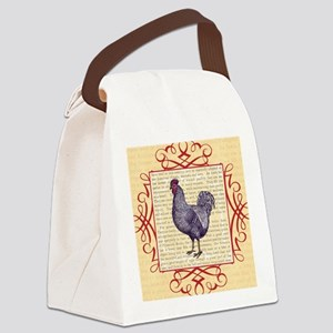 Vintage Plymouth Rock Chicken / R Canvas Lunch Bag