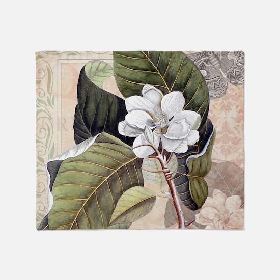 Southern Belle White Magnolia Flower Throw Blanket
