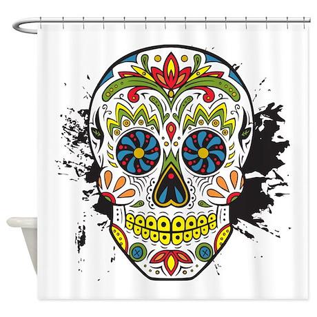 D A De Los Muertos Skull Shower Curtain By Skullshock