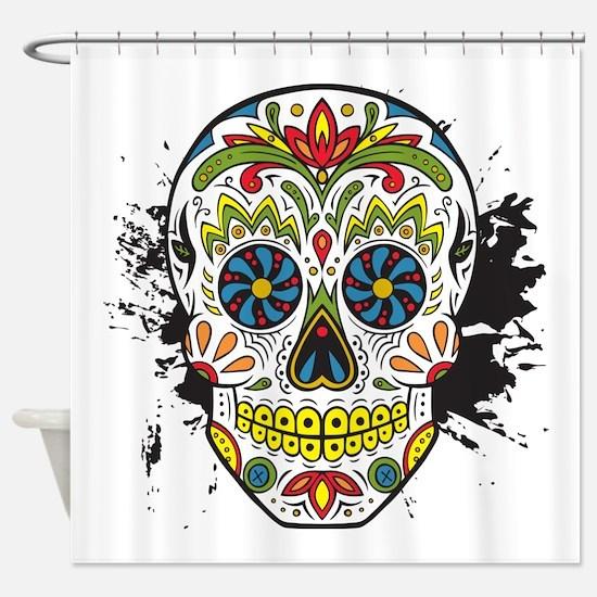 Día de los Muertos Skull Shower Curtain