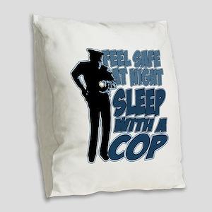 Feel Safe at Night, Sleep With Burlap Throw Pillow