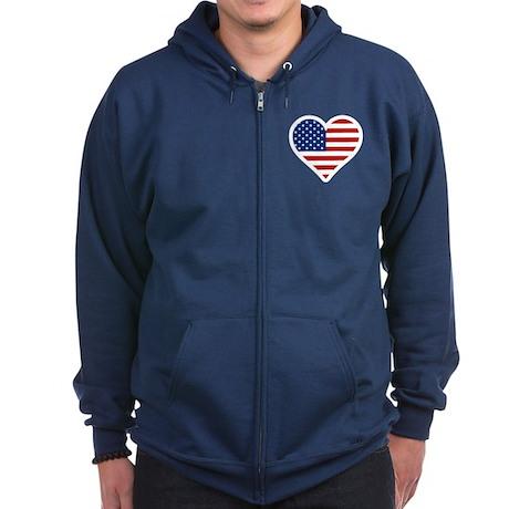 US Flag Heart Zip Hoodie