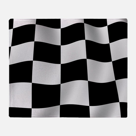 Black Racing Flag Checkerboard Throw Blanket
