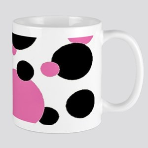 Bubble gum pink and black polkadots Mugs