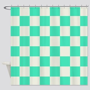Green And White Checked Shower Curtain
