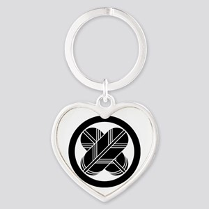 Intersecting hawk feathers in circl Heart Keychain