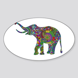 Cute Retro Colorful Floral Elephant Sticker