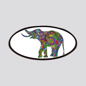 Cute Retro Colorful Floral Elephant Patches