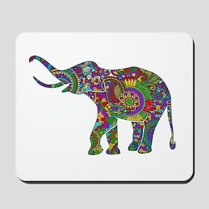 Cute Retro Colorful Floral Elephant Mousepad