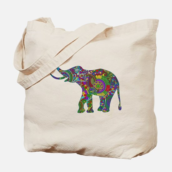 Cute Retro Colorful Floral Elephant Tote Bag