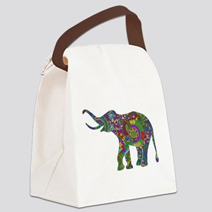 Cute Retro Colorful Floral Elephant Canvas Lunch B