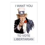 """""""I Want You To Vote Libertarian"""" Postcards (8 ct)"""