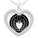 Hanging wisteria in circle Silver Heart Necklace