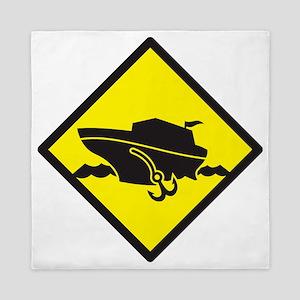 Warning yellow sign cruise  Queen Duvet