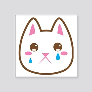 "SAD CAT crying cats Square Sticker 3"" x 3"""