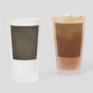 Charcoal and Beige Chevron Drinking Glass