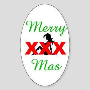 Merry XXX-mas Oval Sticker