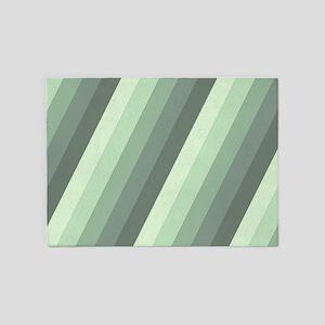 Green Striped 5'x7'Area Rug