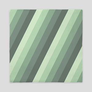 Green Striped Queen Duvet