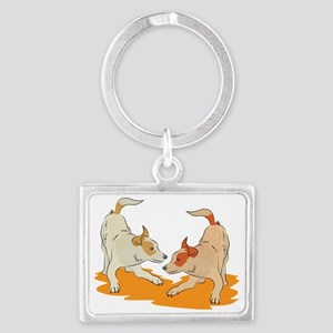 Two heeler pups playing Landscape Keychain