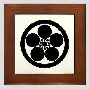 Umebachi-style plum blossom in circle Framed Tile