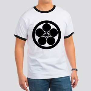 Umebachi-style plum blossom in circle Ringer T