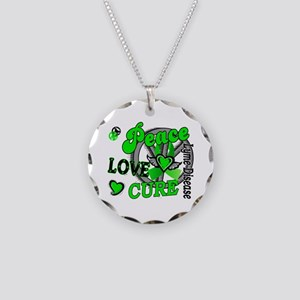 Lyme Disease PeaceLoveCure2 Necklace Circle Charm