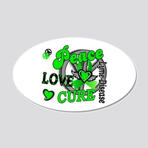 Lyme Disease PeaceLoveCure2 20x12 Oval Wall Decal
