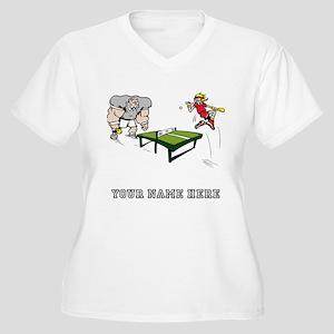 Custom Table Tennis Cartoon Plus Size T-Shirt