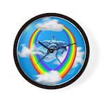 Rainbow Dolphin Wall Clock