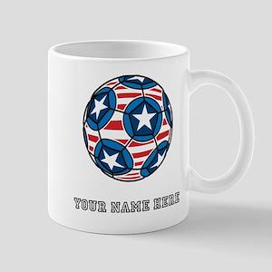 Custom Stars And Stripes Soccer Ball Mugs