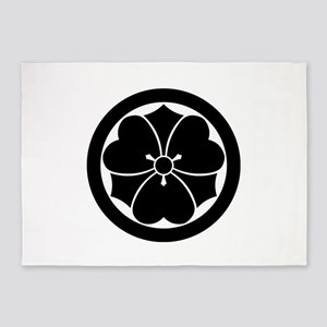 Wood sorrel with swords in circle 5'x7'Area Rug