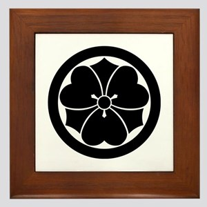 Wood sorrel with swords in circle Framed Tile