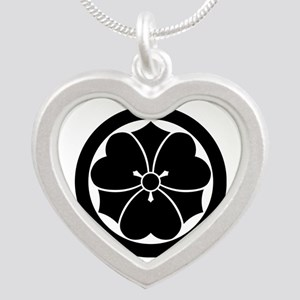 Wood sorrel with swords in c Silver Heart Necklace