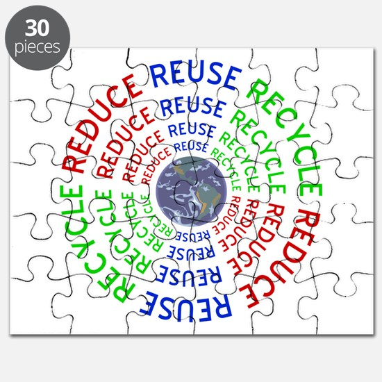 Reduce Reuse Recycle with Earth Puzzle