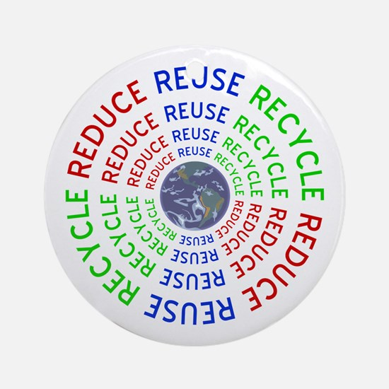 Reduce Reuse Recycle with Earth Ornament (Round)