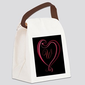 Monogrammed Heart by LH Canvas Lunch Bag