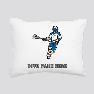 Custom Lacrosse Player Rectangular Canvas Pillow