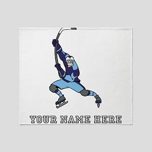 Custom Hockey Slapshot Throw Blanket