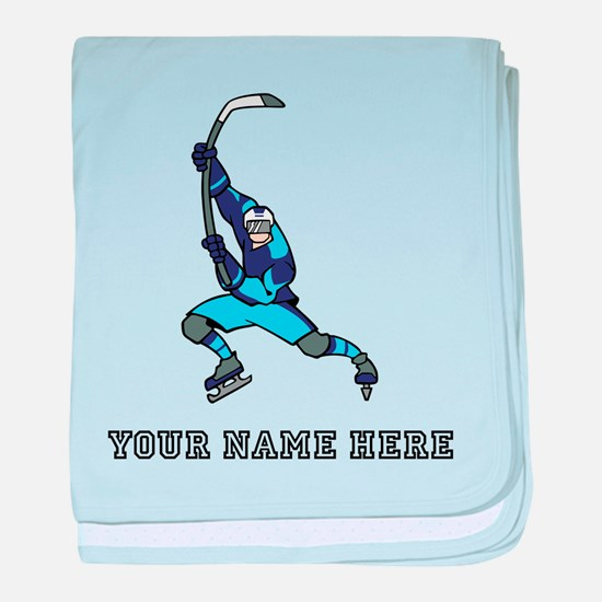 Custom Hockey Slapshot baby blanket