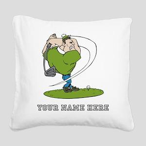 Custom Cartoon Golfer Square Canvas Pillow