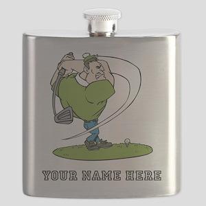 Custom Cartoon Golfer Flask