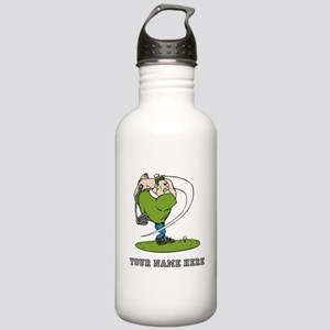 Custom Cartoon Golfer Water Bottle