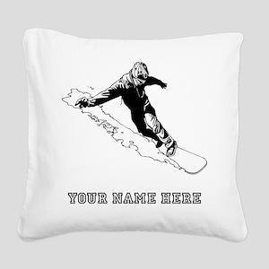 Custom Downhill Snowboarder Square Canvas Pillow