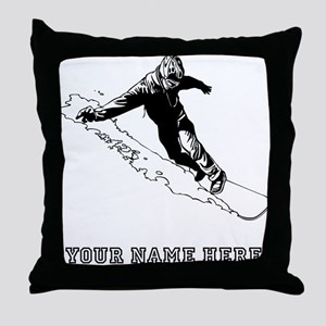 Custom Downhill Snowboarder Throw Pillow