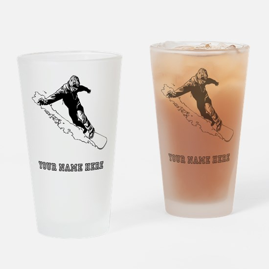 Custom Downhill Snowboarder Drinking Glass