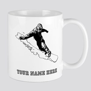 Custom Downhill Snowboarder Mugs